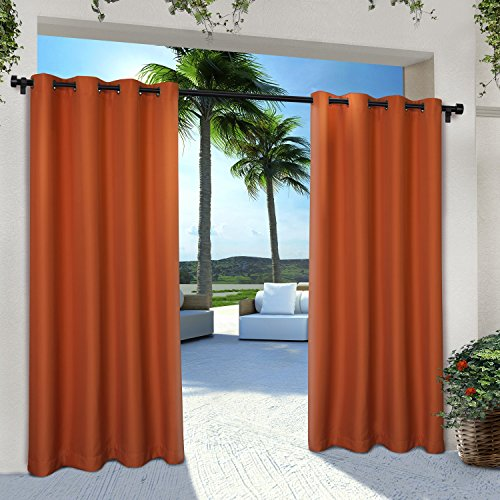 Exclusive Home Curtains Indoor/Outdoor Solid Cabana Grommet Top Curtain Panel Pair, 54x96, Mecca Orange, 2 Piece