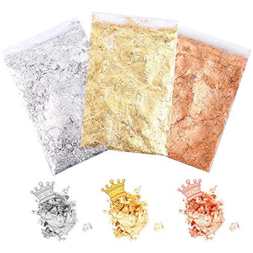 3 Packs Blattgold, XCOZU Imitation Gold Flocken Blattgold Flakes zum Basteln, Metallic Folien Goldfolie für Harzkunst, Nageldekore, Handwerkliche Verzierungen (Gold, Silber, Kupfer, 3g für Pack)