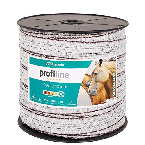 VOSS.farming 200m/40mm Weidezaunband, 3x0,25 Kupfer + 7x0,2 NIRO, Weiß-Schwarz, Weidezaunband Elektrozaunband für sehr Gute Leitfähigkeit