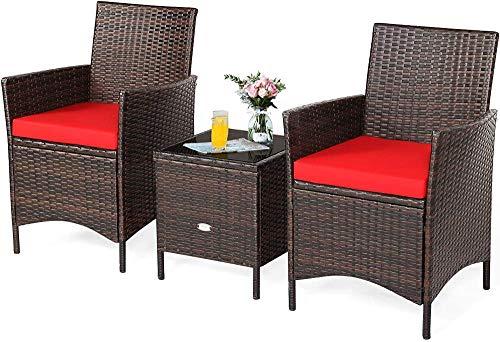 YRRA 3-delad uteplats konversationsset rottingstolar med glasskiva fyrkantigt soffbord och kuddar alla väder utomhus rotting möbel set (röd) – röd