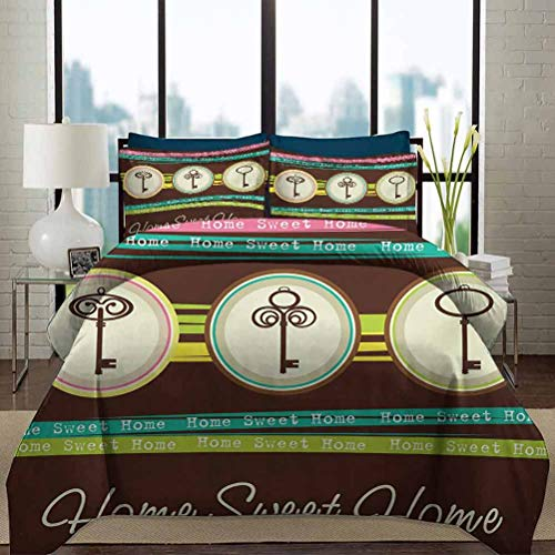 vsunburst Home Sweet Home Bedding Duvet Cover Set King Size Colorful Stripes with Quote Words Three Antique Keys in Circular Frames Decorative 3 Piece Bedding Set with 2 Pillow Shams Multicolor