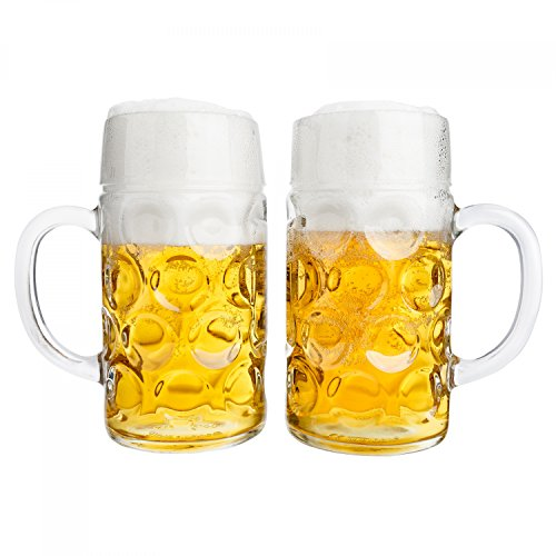 Van Well 2er Set Maßkrug 1 Liter geeicht | großer Bierkrug mit Henkel | Bierglas spülmaschinenfest perfekt geeignet für Gastronomie