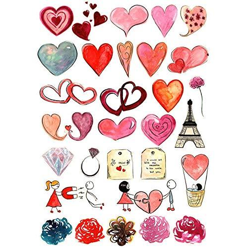ZZHH 2 uds. Kawaii Boda Parejas Rojo Amor corazón DIY Deco ScrapbookingDiario papelería Pegatinas planificador Papel Diario Pegatina