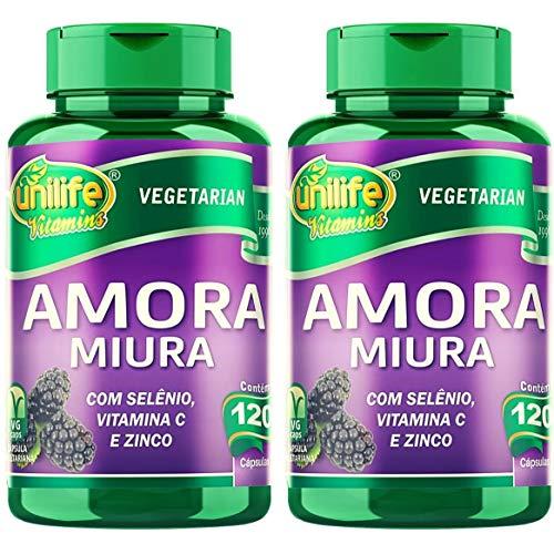 Kit com 2 Frascos de Amora Miura com Vitaminas Unilife 120 capsulas 500mg