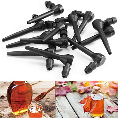 SIKEFIWO 24 PCS Maple Sap Taps Tree Saver Maple Syrup Taps Maple Sugaring Spiles Plastic Maple Syrup Tree Tapping Spiles/Sprouts for Maple Birch Syrup Supplies Black