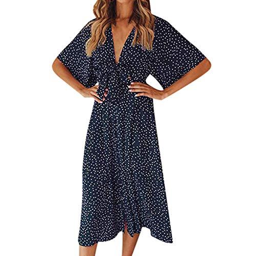 MERICAL Vestido de Lunares de Verano para Mujer Vestido Boho de Manga Corta Vintage Midi Vestido de Playa(Azul,Small)