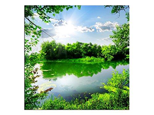 kunst-discounter A05548 - Quadro su Tela Primavera sul Lago, Format 70 x 70 cm