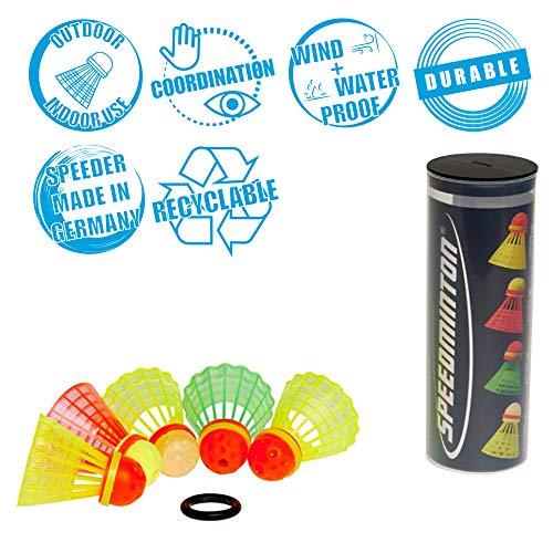 Speedminton Mix 5pk Speeder Tube  incl 5 different Birdies for Speed Badminton/ Crossminton for Outdoor Games SM031005