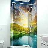 Adhesivo para pared de ducha, duradero, 0,4 mm, de PVC duro, resistente a los arañazos, fácil de limpiar, tamaño: 2 x 103 x 240 cm, diseño: bosque