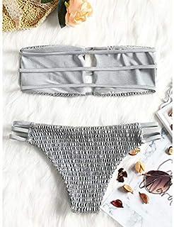 BEESCLOVER Women Ladder Cut Bandeau Smocked Bikini Swimwear Women Swimsuit Two Piece Strapless Padded Solid Bathing Suit