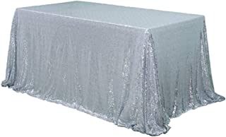 YFLZQ 50x80 Rectangular Seamless Silver Sequin Tablecloth, Sparkly Sequin Overlay for Wedding Birthday Party Ceremony Halloween Christmas Decoration