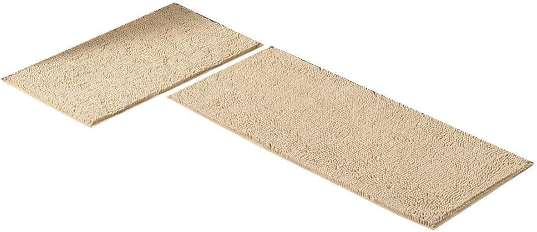 Royare Home Decorations mat Rug Non-Slip Cleaning Kitchen Mat Home Bedroom Bed Long Strip Carpet (color   Camel, Size   50×120+50×80CM)