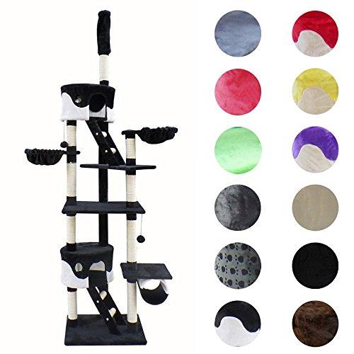 Petigi krabpaal voor katten, sisal, 240 – 254 cm, plafondhoogte 12 kleuren, kleur: zwart/wit
