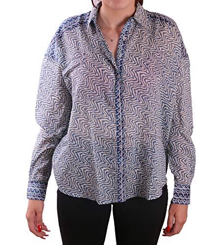 Scotch & Soda Boxy Fit Retro Bluse modisches Damen Langarm-Shirt Trend-Look Freizeit-Shirt mit Mustermix Blau, Größe:S