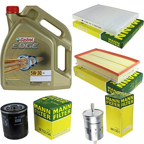Juego de filtros, paquete de inspección de 5 litros de aceite de motor Castrol Edge Titanium FST 5W-30 LL MANN-FILTER filtro interior de combustible filtro de aire filtro de aceite