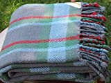 Orenda home product 100% Merino Wool Blanket,Plaid,Green,Soft,Organic,Twin,150x200cm