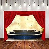 X-グランドパーティーステージ写真9x6FTゴールデンショーリボン背景写真ブーススタジオProps877の赤いカーテンの背景