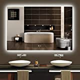 Keonjinn 48 x 32 Inch Backlit LED Mirror Lighted Bathroom Mirror with Lights Anti-Fog Wall Mounted LED Vanity Mirror Large Dimmable Makeup Mirror(Horizontal/Vertical)