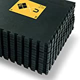 JOWY Esterilla de Espuma Fitness Suave. Tatami Puzzle Negro 60x60cm. Máxima protección para tu Suelo. Fácil Limpieza y con Bordes incluidos. (Negro, 12 pcs (4.32m2))