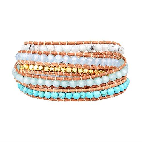 New! Genuine Leather Bracelet Multi Colors Beads Wrap Bracelet Nice Gift! (5 Wraps, jade, blue-veins, turquoise, gold bead)