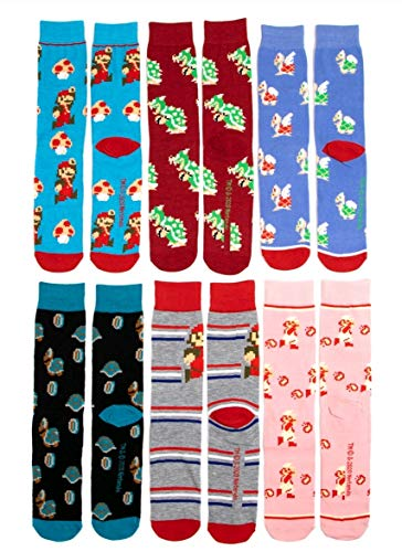 Nintendo Super Mario Brothers 6Pack Casual Crew Socks for Men Size 812