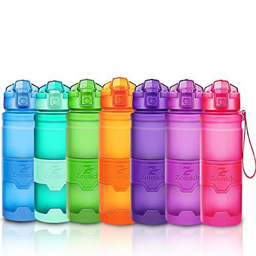 ZOUNICH Trinkflasche Sport BPA frei Kunststoff Sporttrinkflaschen für Kinder Schule, Joggen, Fahrrad, öffnen mit Einer Hand Trinkflaschen Filter, Rosa, 25oz/700ml