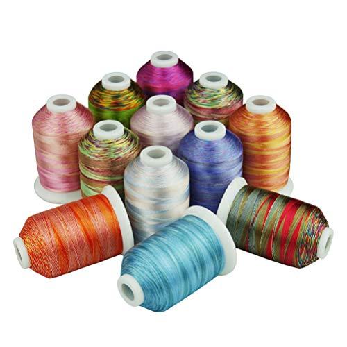 Artibetter Borduurgaren Spoelen Polyester Naaigaren Voor Quilten Stoffering Gordijnen Kralen Naaimachine 12 Rollen 12 Kleuren