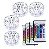 VIPMOON 10-LED RGB水中ライト、4点セット RGB リモコン付 電池式花瓶ベース、花、水族館、池、パーティー、結婚式、ハロウィーン24種キーリモコン付き多色防水ライト