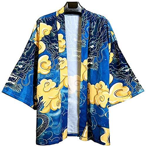 Kimono japonés para hombre, cárdigan suelto, ligero, con plumas, para verano, talla A XL