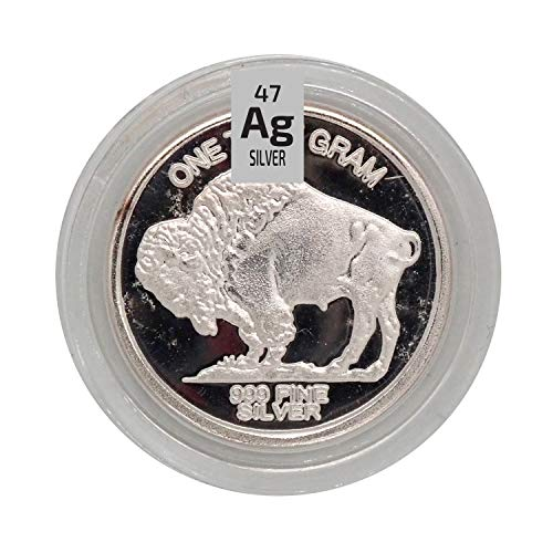 99,9% de plata pura redonda metal Bullion 1 g de admisión en una cápsula hermética.