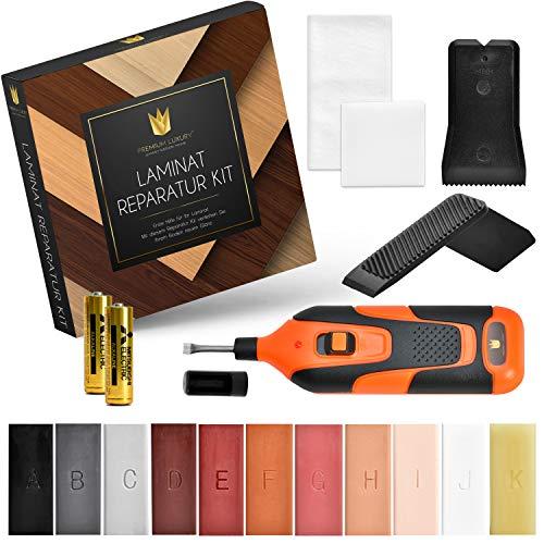 Premium Luxury Laminat Reparaturset | Für Parkett, Laminat, Holzmöbel uvm. | Profi Holzkitt mit [11] Hartwachs Stangen | Wachsschmelzer inkl. [2] Batterien