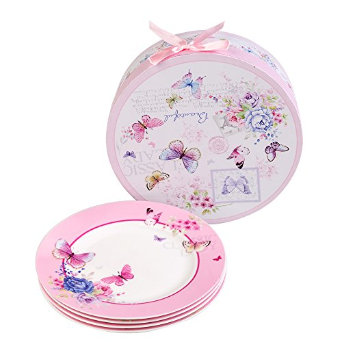 London Boutique Cake Plate Set 4 Porcelain Fine China Wide Rimmed Shabby Chic (Butterflies)
