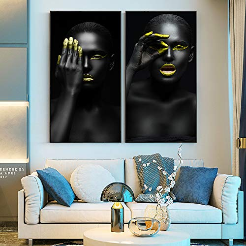 ganlanshu Rahmenlose Malerei Afrikanische Mädchenmalerei auf Wandplakat und verwendet für WohnzimmerdekorationZGQ6811 40X80cm