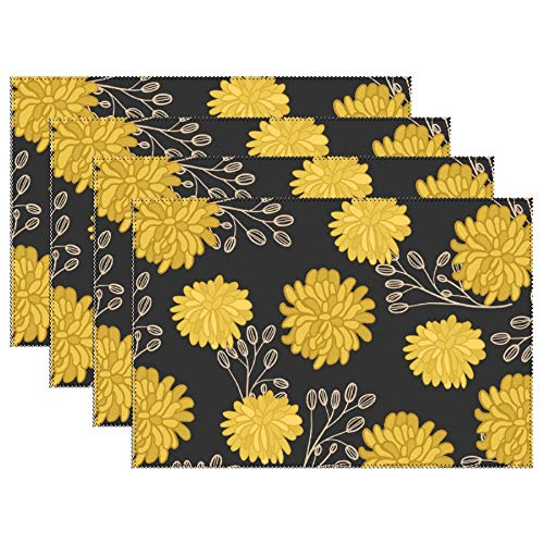 Yilooom Set of 6 Heat Resistant Stain Insulation Place Mats Anti-Skid Washable Canvas Table Placemats 12 X 18 Inch, Daisy Pattern