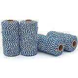 DollaTek 4Pcs 100M Guita de hilo, algodón durable Guante de panadero Heavy Duty Cotton Crafting Twine 2mm para embalaje Guita de hilo - Azul marino + Blanco