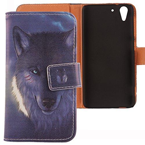 Lankashi PU Flip Leder Tasche Hülle Hülle Cover Schutz Handy Etui Skin Für HTC Desire Eye Wolf Design