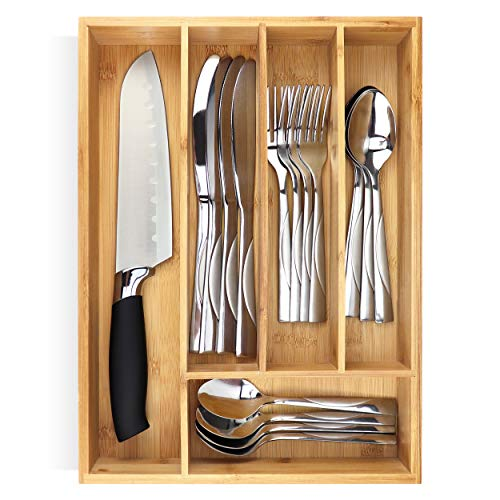 PRISTINE BAMBOO 10 inch silverware tray organizer– Flatware Utensil Cutlery Silverware Holder for Drawer – Small Extra-Deep Wooden Kitchen Drawer Organizer Divider for Spoons Forks Knives cutleries