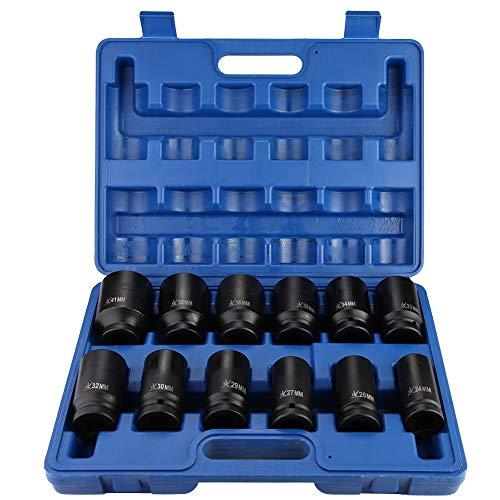Deep Impact Socket Set, 12Pcs Car Repair Impact Drive Socket Set, 24-41mm...