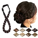 Braided Headband Hair Chunky Braided Headband Plaited Hair Band Wide Plaited Braids Elastic Stretch Braid Hairband Synthetic Hairpiece For Girls And Women (Small-three strands braided, light brown)