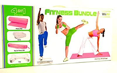 Digital Gadgets 4 in 1 Wii Fit Fitness Bundle Includes Mat Step Textured Socks & Carry Bag Pink