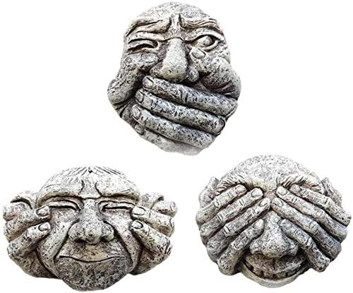 HJTLK Ornamento da Giardino, 3 Pezzi Gargoyle in Resina da Giardino Effetto Pietra da Appendere a Parete e Recinzione da Giardino - Non Sentire Il Male, Non Vedere, Non Parlare del Male Trio - Sta