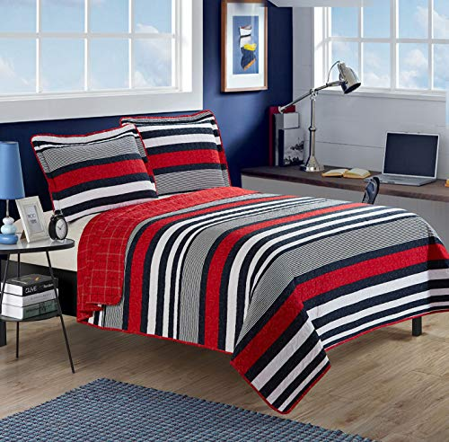 All American Collection 3pc Modern Contemporary Soft Comfy Bedroom Bedspread Quilt Set (Red/Navy, Full/Queen)