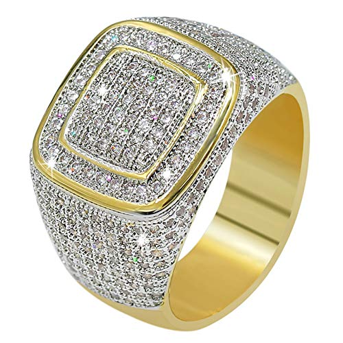 JINAO18K Gold Custer ICED OUT Lab Simulated Diamond Band Micropave Mens Bling Ring (11)