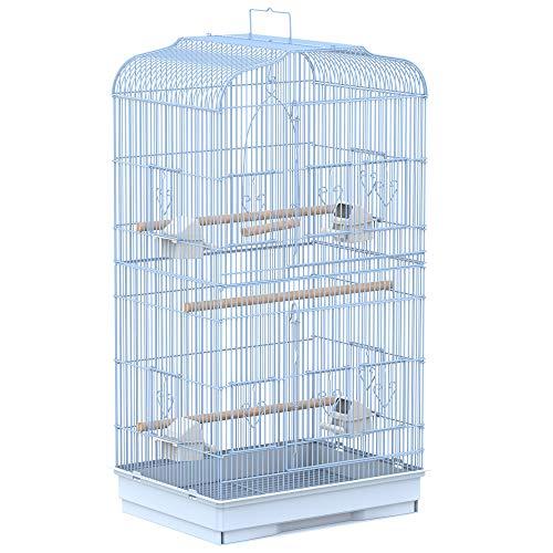 Pawhut Jaula para Pájaros Pajarera con 2 Puertas 4 Comederos y 3 Perchas Columpio Asa de Transporte para Loro Canario Periquito Marco Metálico 47,5x36x91 cm Blanco