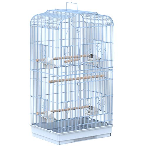 Pawhut Jaula para Pájaros Pajarera con 2 Puertas 4 Comederos y 3...