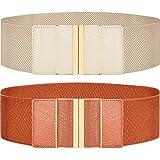 Cinturones Elásticos Elásticos para Mujer Cinturones Anchos Cinturón Ajustado de Cintura Elástica para Vestido, Abrigo, Chaqueta de Plumas, Marrón y Beige