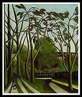 大人のための数字によるペイント初心者ルソー川岸の風景-40x50cmDIY絵画キャンバス上の数字キットによるペイント