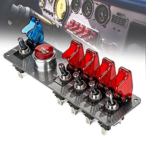 FRIBLSKEL Panel Interruptores Especial Modificación Coches Carreras Interruptor Basculante 12V 20A Interruptor Arranque Motor LED Panel Botones Encendido para Coche Camión Barco,Rojo