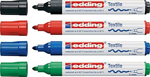 Edding 5-4500-4- - Rotulador para ropa (varios colores, punta redonda de 2-3 mm), Textilmarker, colores básicos, 4