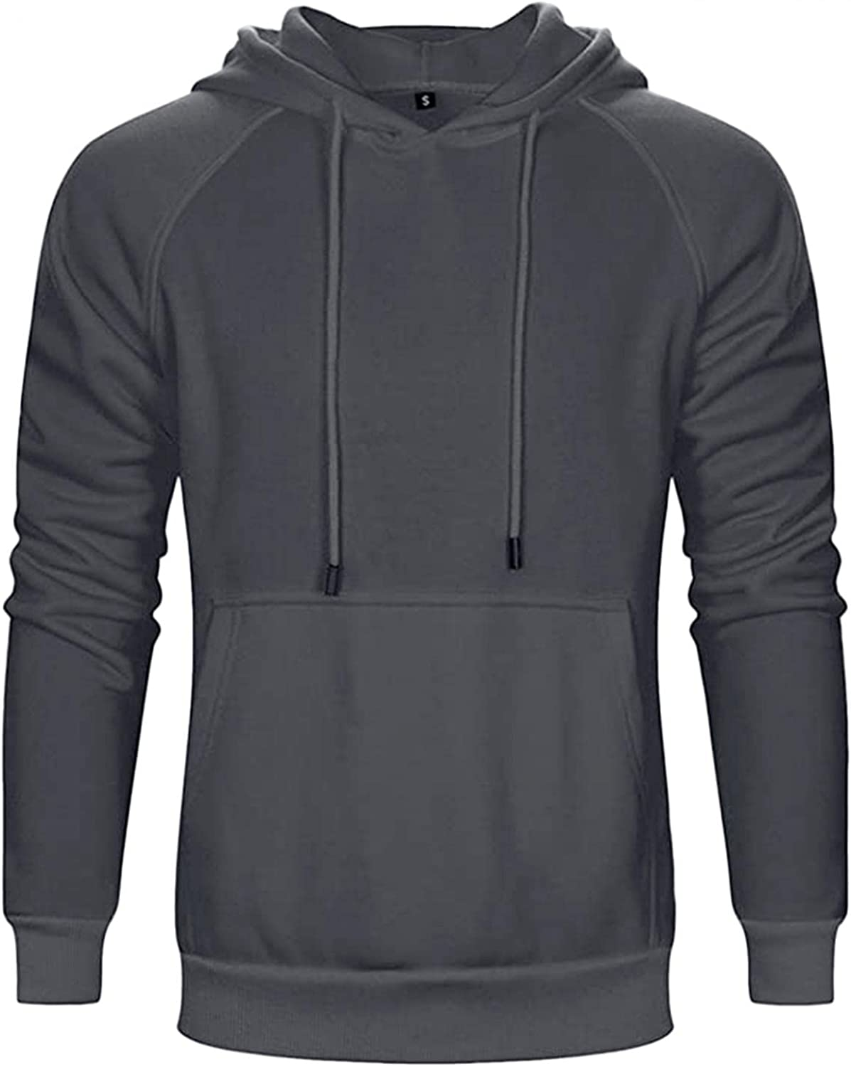 Mens Hooded Sweatershirts Solid Long Sleeve Hoodies Pullover Casual Fashion Sports Tops Blouse with Kangaroo Pockets